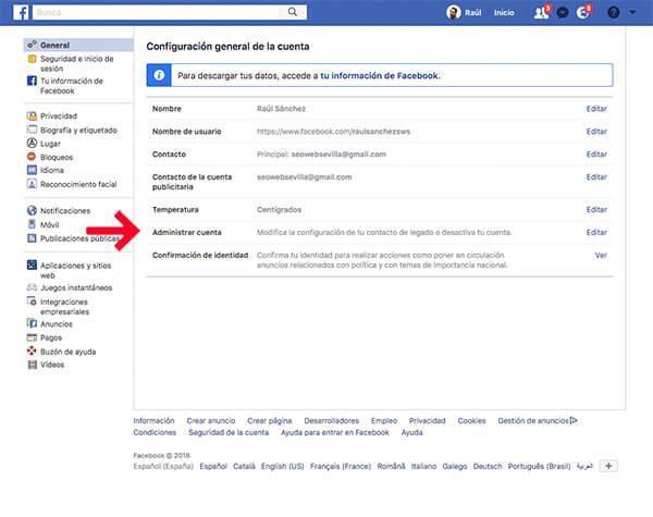 Baja cuenta fallecido Facebook