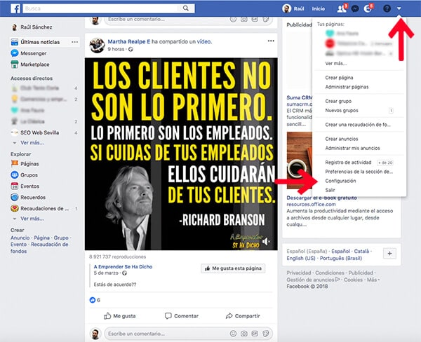 Dar de baja cuenta de Facebook de un fallecido
