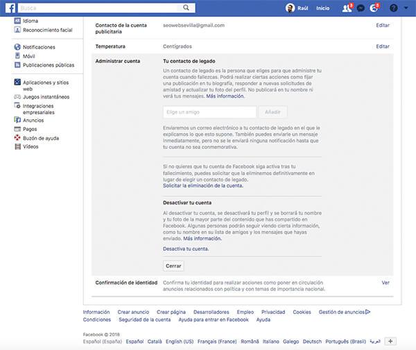 Desactivar cuenta en Facebook