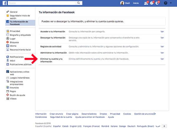 Eliminar cuenta definitivamente en facebook