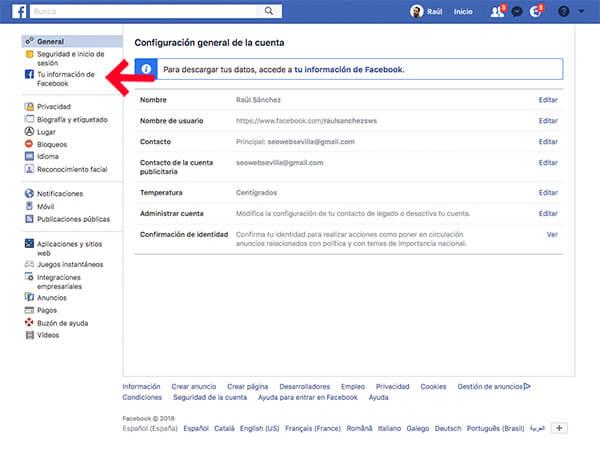 Eliminar definitivamente cuenta en Facebook