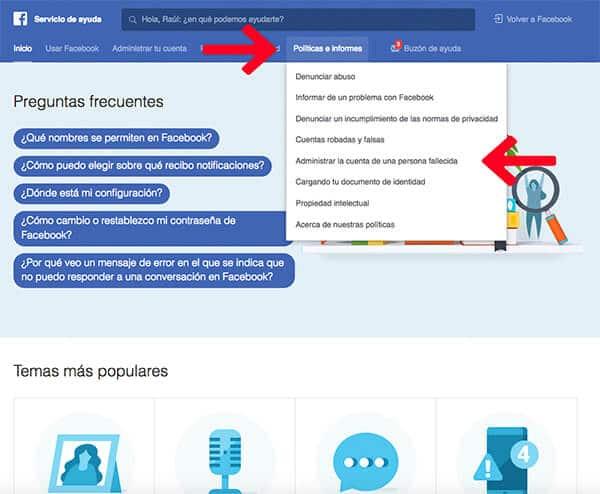 Política e informes baja Facebook